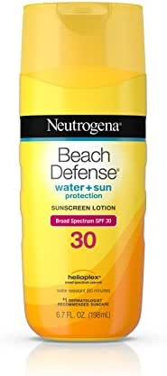 Neutrogena Beach Defense Water Resistant Sunscreen Body Lotion with Broad Spectrum SPF 30, Oil-Free and Fast-Absorbing, 6.7 oz