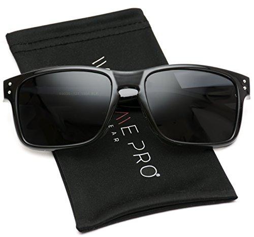 WearMe Pro - Premium Polarized Mirror Lens Classic Wayfarer Style Sunglasses (Black, ()