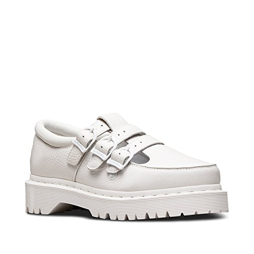 Dr. Martens Women's Freya Triple Strap Fashion Mary Janes, White, Leather, Rubber, 7 M UK, 9 M US (Adult Jane White Shoes)