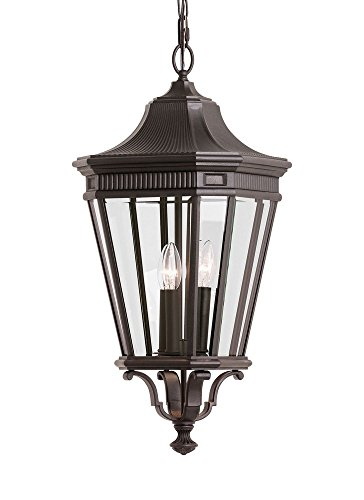 Cotswold Pendant Lane Outdoor (Feiss OL5412GBZ Cotswold Lane Outdoor Pendant Lantern, 3-Light, 180watts, Bronze (12