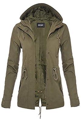 FASHION BOOMY Womens Zip Up Safari Military Anorak Jacket W/Hood