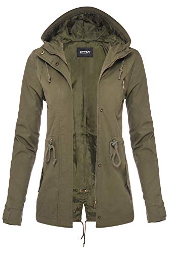 FASHION BOOMY Womens Zip Up Military Anorak Jacket W/Hood (Large, Olive) ()