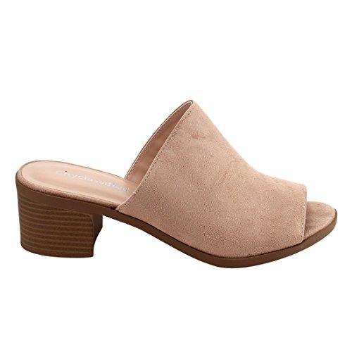 CityClassified IC95 Womens Stacked Block Heel Slides Dusty Mauve 8TCyyYzU