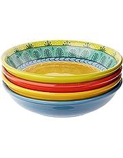 "Certified International 14184SET/4 Valencia Soup/Pasta Bowl (Set of 4), 9.25"", Multicolor"