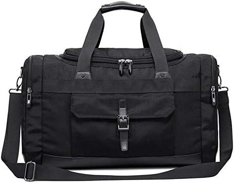 メンズ荷物袋 メンズファッションミニマルオックスフォード布トラベルボストンバッグ防水荷物ジムスポーツトートバッグ旅行ショルダーバッグ特大ビジネストラベルバッグ 柔らかく快適な耐摩耗性 (色 : Black, Size : 54x23x33cm)