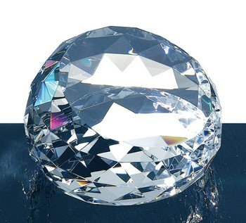 Clear Optic Crystal Cut Round Gem Paperweight