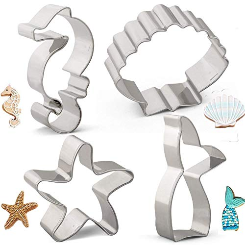 Sea Creature Mermaid Cookie Cutters Set Mould - 4 PCS - Mermaid Tail/Whale Tail, Seahorse, Starfish and Seashell Shape - Stainless Steel (Sea Creatures Cookie Cutters)