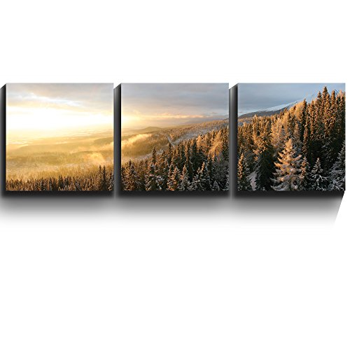 3 Square Panels Contemporary Art Winter Forest Snow Three Gallery ped Printed Piece x3 Panels