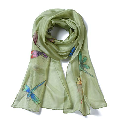 - Invisible World Women's 100% Silk Scarf Hand Painted Dragonfly Gray Green