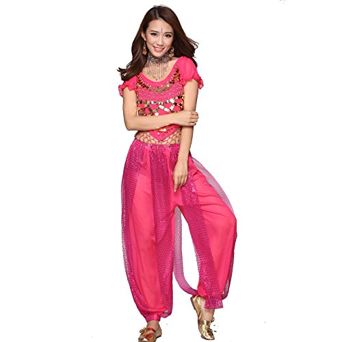 Belly Dance Costume Set Indian Dance Coins Top & Sequins Bloomers dark pink (Indian Dance Costumes And Accessories)