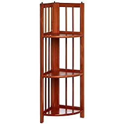 Casual Home 315-15 4-Shelf Corner Folding Bookcase, Honey Oak