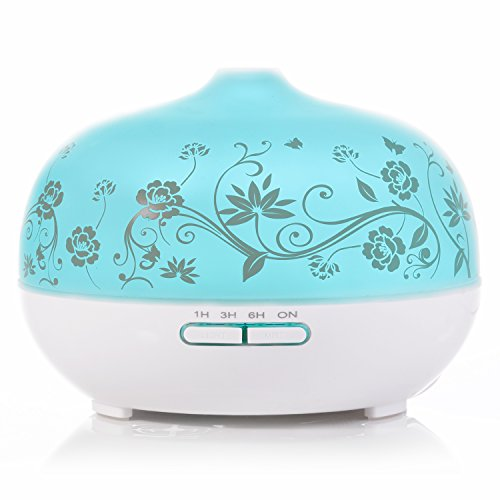Price comparison product image BESTEK Essential Oil Diffuser, 300ml Glass Aroma Diffuser Ultrasonic Cool Mist Humidifier with changing Colored LED Lights,  Waterless Auto Shut-off and Adjustable Mist mode