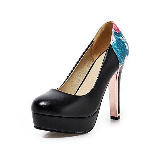 AllhqFashion Damen Rund Zehe Ziehen auf PU Leder Hoher Absatz Pumps Schuhe Schwarz
