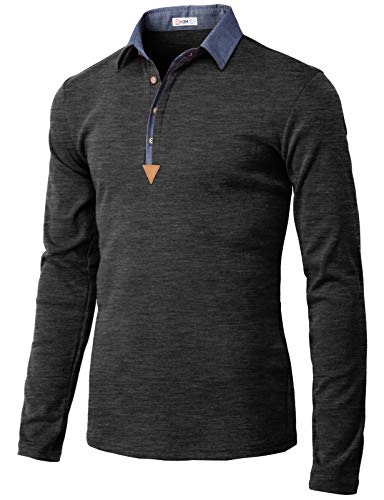 dc66aa06bd129 H2H Mens Casual Slim Fit Long Sleeve Polo T-Shirts of Various Styles  Charcoal US