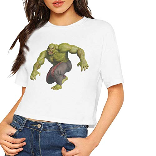 Tian Womens Cute The Green Ogre 3D Illustration Design Tee Midriff Costume T Shirts White M]()
