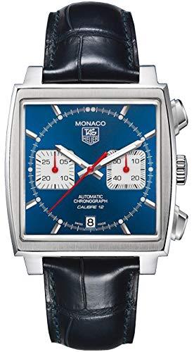 TAG Heuer Men's CAW2111.FC6183 Monaco Calibre 12 Automatic Chronograph Blue Alligator Strap Watch