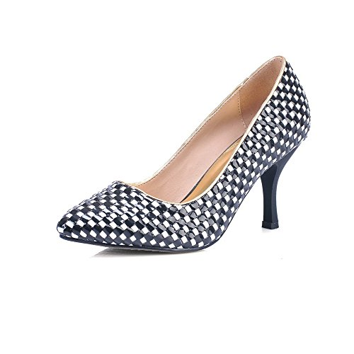 Vouge001 Womans Pumps Lattice 5 Toe Materials Kitten Material Blend Closed Heel UK Black Soft Checkered 2 with TTq4Awrxd