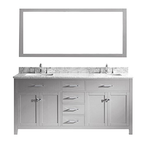 Virtu USA MD-2072-WMSQ-CG-002 Caroline Double Bathroom Vanity with Marble Top/Square Sink with Polished Chrome Faucet/Mirror, 72 inches, Cashmere Grey