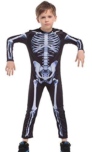 La Vogue Little Toddler Boy Fancy Jumpsuit Bodysuit Holloween Scary Costume Skeleton Bone L (Funny Bones Costume Toddler)
