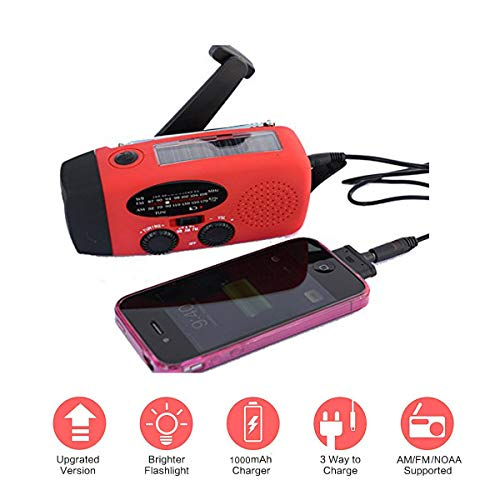 TKSTAR Solar Radio Emergency Hand Crank Flashlight Dynamo Power Bank Phone Charger 3 LED AM/FM Mid-Band Weather Portable Radio with AUX Line-in Input (Red) - Crank Dynamo Hand
