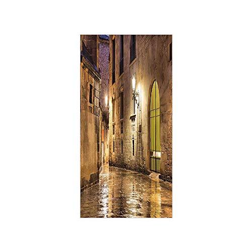 3D Decorative Film Privacy Window Film No Glue,Gothic Decor,Gothic Ancient Stone Quarter of Barcelona Spain Renaissance Heritage Gothic Night Street Photo,Cream,for Home&Office