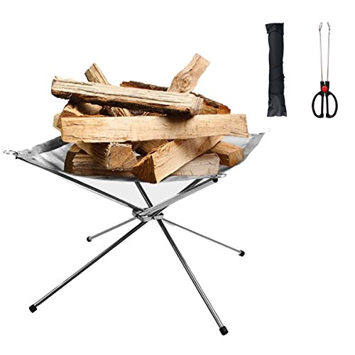 HoDrme Portable Outdoor Campfire Grill, Foldable Stainless Steel Mesh Fire Pit Fireplace for Camping, Adventure and Picnic-Carrying Bag and Carbon Clip Included