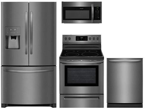 Frigidaire Stainless Steel Refrigerator (Frigidaire 4-Piece Black Stainless Steel Package,FFHB2750TD 36