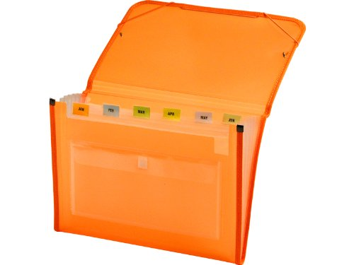 Lion Clear-Line INSTA-COVER 7-Pocket Poly Expanding File, Transparent Orange, 1 File (94600-OR) Insta Line
