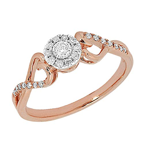 (0.20 TCW Round Cut White Natural Diamond 10k Rose Gold Engagement Promise Ring 5.5)