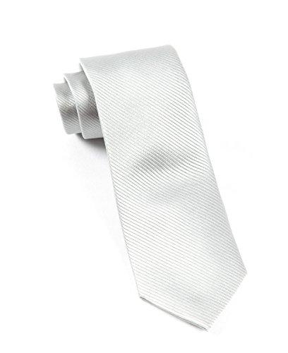 054bd6cf8744 The Tie Bar 100% Woven Silk Silver Solid Skinny Tie