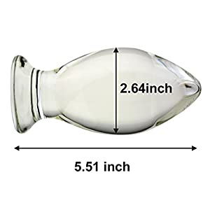 Wowlife So Big - Extra Large Huge Head Glass Butt Plug 5.5x2.63 Inch Dildo Penis G-spot Crystal Anal Plug