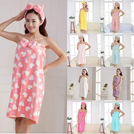 b2ad9b7164 Image Unavailable. Image not available for. Color  1 Piece of Women s Girls  Bow Headband + Bath Towel Shower Bath SPA Wrap Body Gown
