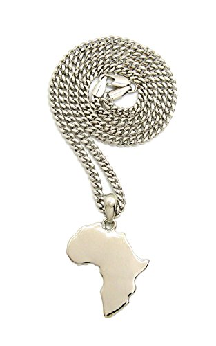 Polished Africa Continent Micro Mirror Pendant with 3mm 24'' Cuban Chain Necklace, Silver-Tone by NYFASHION101