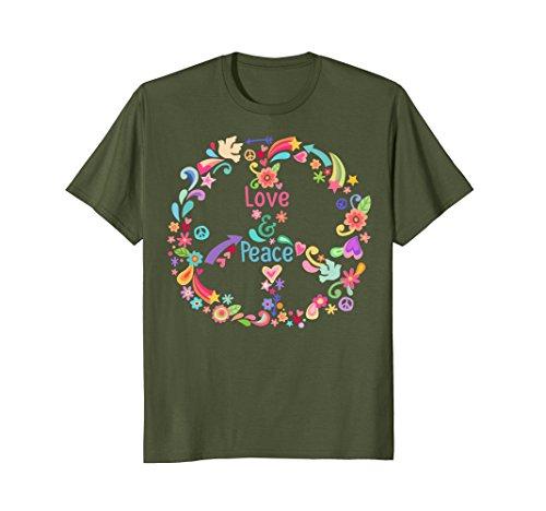 Mens Peace Sign Love T Shirt 60S 70S Tie Die Hippie Costume Shirt Xl Olive