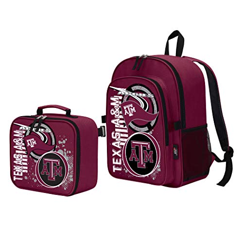 The Northwest Company Officially Licensed NCAA Texas A&M Aggies Accelerator Backpack & Lunch Kit Set, Red, 16
