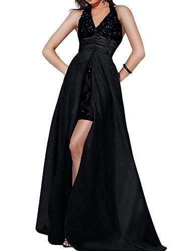 mit Abendkleider Neckholder Schwarz Partykleider V Ausschnitt Schleppe Festlichkleider mia Ballkleider La Brautmutterkleider Spitze Brau YwPtBp