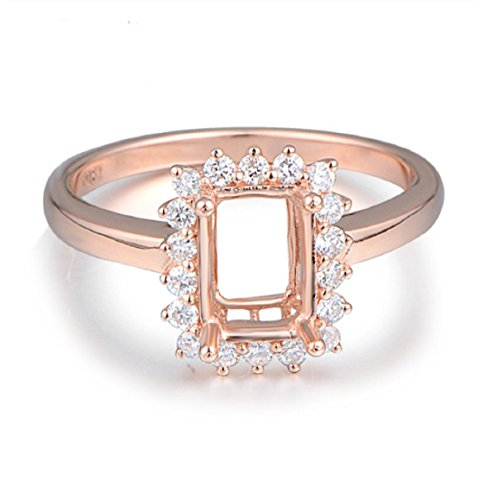 GOWE 5x7mm Emerald Cut 18k Rose Gold Diamond Semi Mount Ring Fine Jewelry by GOWE