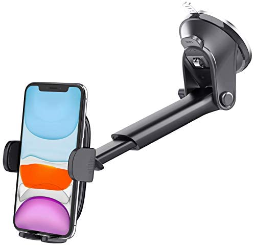 Suction Cup Car Phone Holder Mount, Dashboard/Windshield/Window Phone Holder for Car with Ultra Sticky Gel Pad, Compatible With iPhone, Samsung, 4-6.8 Inch Cell Phones, Thick Case & Big Phone Friendly