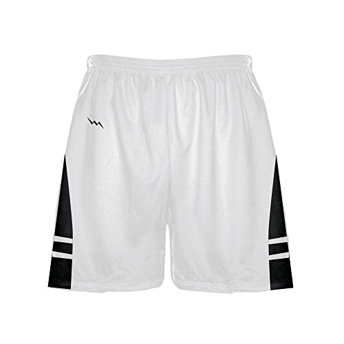 LightningWear Lightning Wear Athletic Gym Shorts - Mens White Black Athletic Shorts - Basketball, Soccer, Lacrosse 3XL by LightningWear