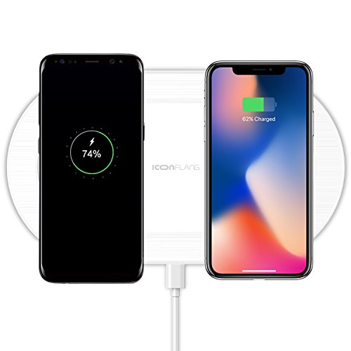 Dual Wireless Charger, 2-in-1 Wireless Charging Pad Induction Charger Base for iPhone X iPhone 8/8 Plus Samsung Galaxy S9 Note 8 S8 S7 S6 Edge QC2.0/3.0 Adapter Required (Not Included) - White (Wireless Induction Charger)