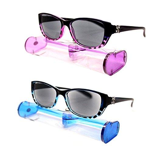 (#BRSR24 Prp&Blu) New Fashion Designer Women Sun Readers Sunglasses + Reading Glasses ALL-IN-ONE Free Carry Case (Strength: - Sunglasses Designer Reader