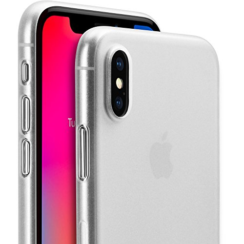 iPhone X Thin Case, GMYLE Ultra Slim [0.3mm] Thin Fit Flexible Semi-transparent Protective Scratch Resistant Support Wireless Charging Soft TPU Cover Case for iPhone X 5.8 Inch - Transparent (Rubberized Battery Door)