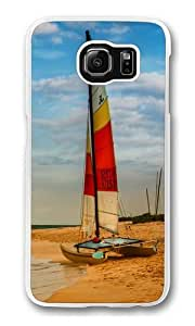 Boat on oahu beach Polycarbonate Hard Case Cover for Samsung S6/Samsung Galaxy S6 Transparent