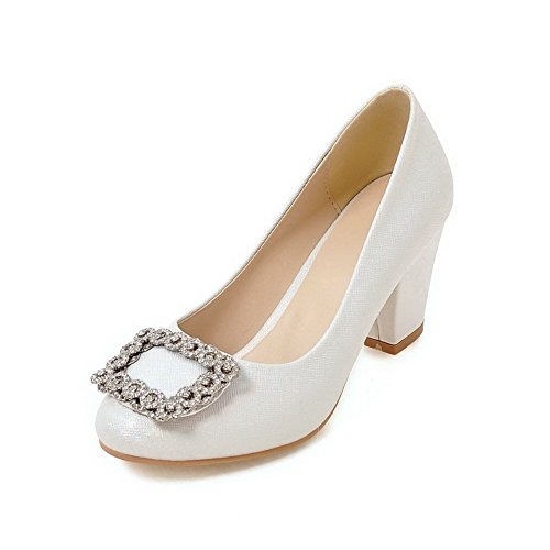 Odomolor Women's Round-Toe High-Heels Pull-On Solid Pumps-Shoes, White, 43