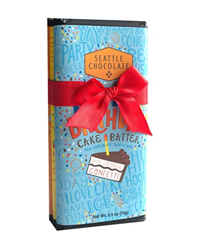 Chocolate Cake Truffle - Seattle Chocolate Candy Bars Gift Set- All Natural, Non GMO, Gluten Free, Kosher Certified- 2.5 Ounce Dark & White Milk Chocolate Truffle Bars - Fun Doodles & Festive Phrases Wrapping- Pack Of 3