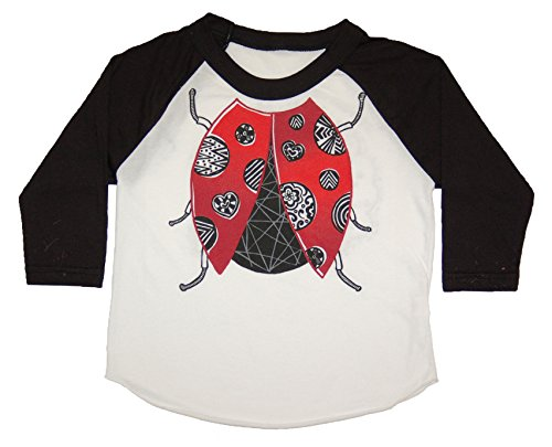 Peek-A-Zoo Toddler Become an Animal 3/4 Sleeve Raglan - Ladybug Black - 6T ()