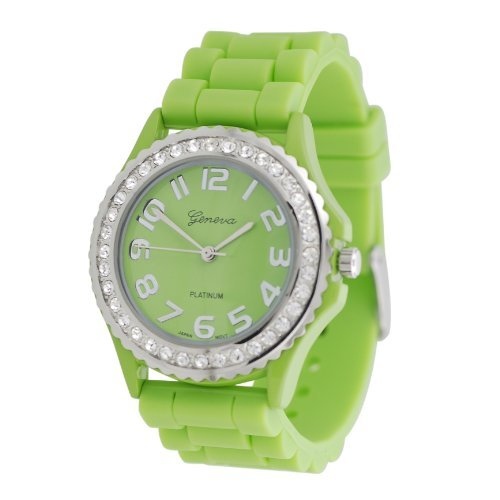 (Geneva Platinum CZ Accented Silicone Link Watch, Large Face)