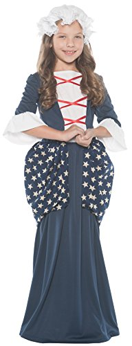 Girl's Betsy Ross Outfit Funny Theme Child Fancy Dress Halloween Costume, Child M (6-8) Blue/White