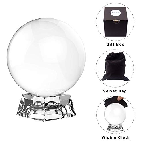 - Moi Doi Crystal Ball, Crystal Clear Ball, K9 Crystal Suncatchers Ball with Stand for Photography/Meditation/Divination or Wedding/Home/Office Decoration