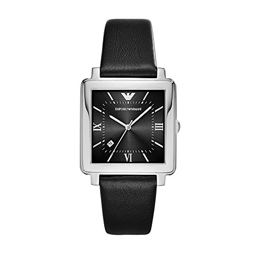 Emporio Armani Men's 'Dress' Quartz Stainless Steel and Leather Casual Watch, Color:Black (Model: ()